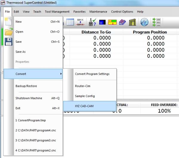Convert Router-CIM Programs to M & G code