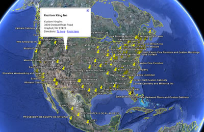 Thermwood Production Sharing Members Mapped in Google Earth