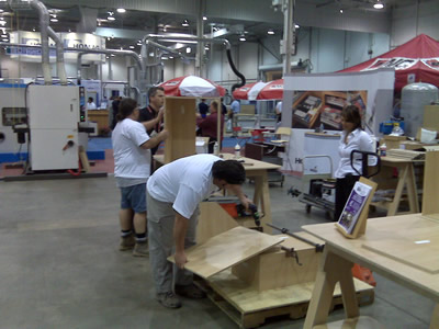 Assembling cabinets cut on the CabinetShop 43 at the WMS Expo in Toronto, Canada