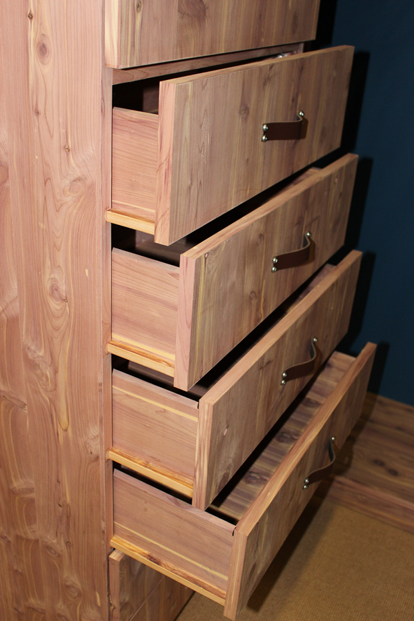 Slot slide drawers from aromatic cedar closet totally made on a Thermwood Cut Center