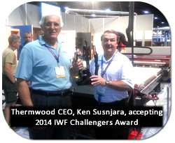 Thermwood CEO, Ken Susnjara, accepting 2014 IWF Challengers Award for Cut Center