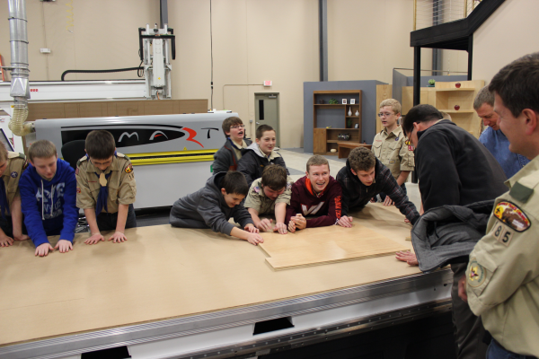 Boy Scouts learn about Universal Vacuum on a Thermwood Model 43