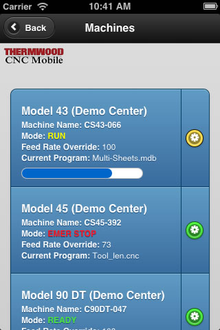 Thermwood CNC Mobile App - Machine Listing Display