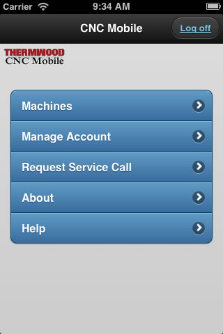 Thermwood CNC Mobile App - Main Screen