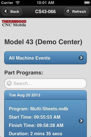 Thermwood CNC Mobile App - Machine Display
