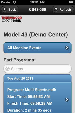 Thermwood CNC Mobile App - Machine Display