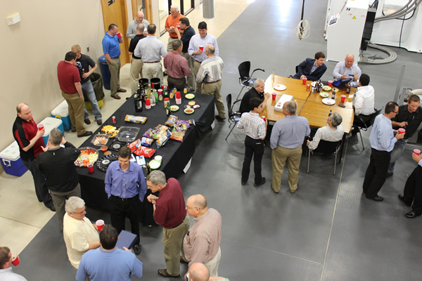 Thermwood dealers and employees socialize during the 2013 Dealer Conference