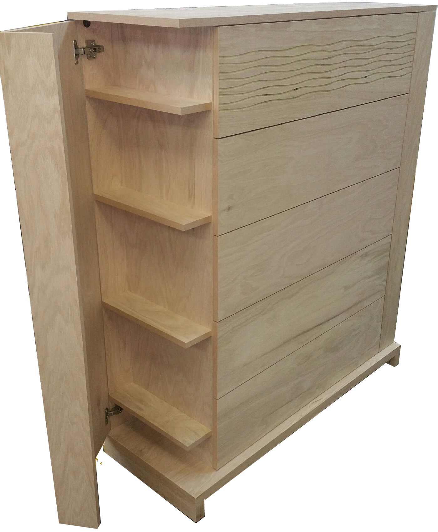 Contemporary Wave Bedroom Suite Chest featuring fold out hidden shelving.