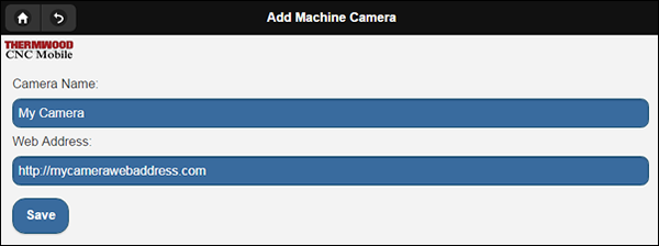 Add a new camera by entering in a name and web address to your hosted web cam