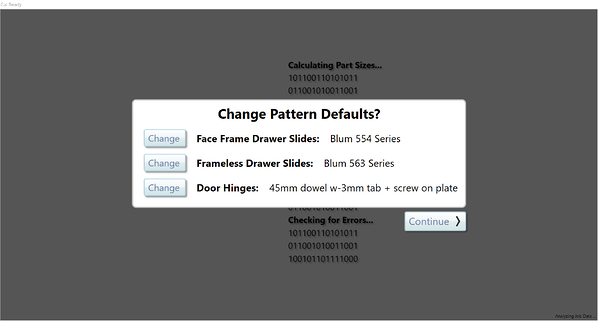 Customize the pattern defaults on your slides and hinges...