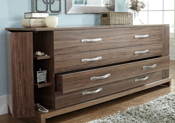 Contemporary Wave Bedroom Suite Dresser featuring fold out hidden shelving.