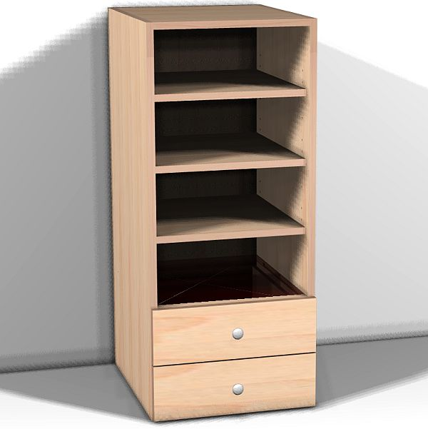 Two drawers and three shelves