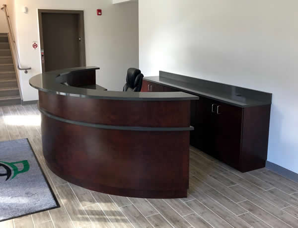 Reception Desk created using the Custom Cuts tools on the Thermwood Cut Center