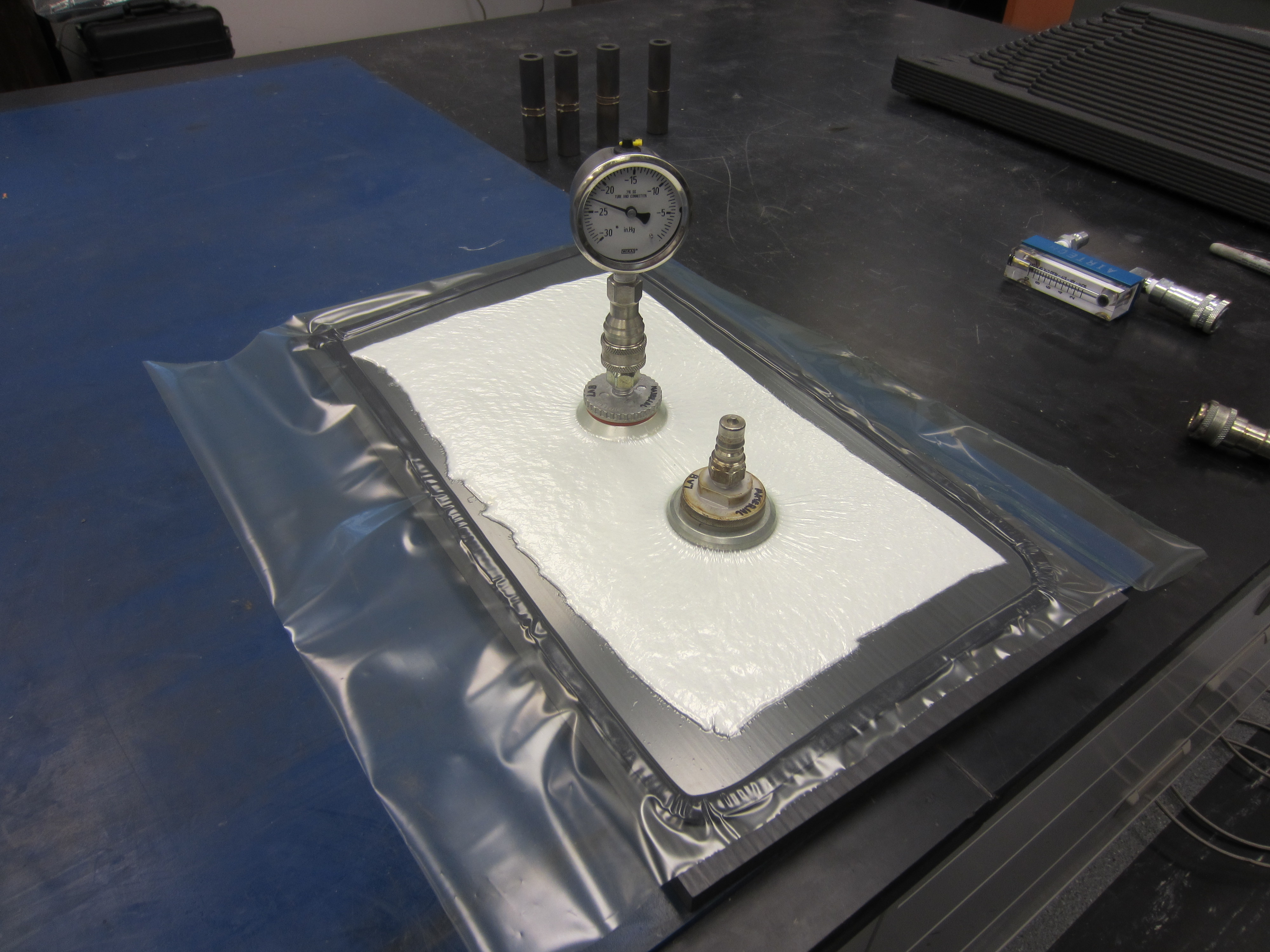 View of LSAM PPS Sample and Vacuum Bag without Vacuum Hose