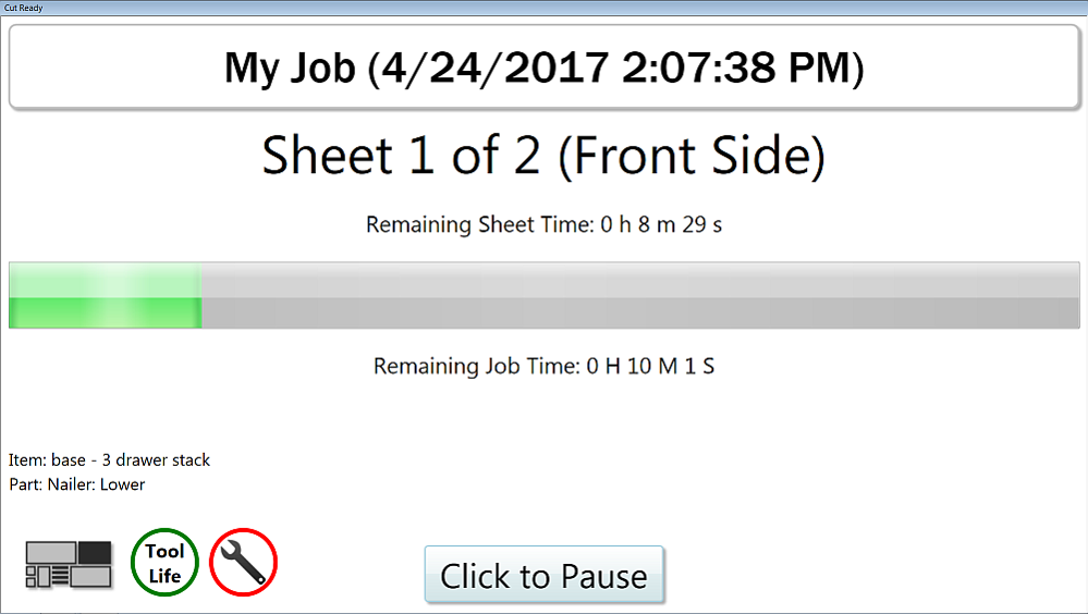 Thermwood Cut Center now adds a more informative run screen interface
