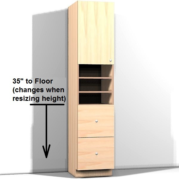 Tall cabinet with left hinge door and 2 equal drawers