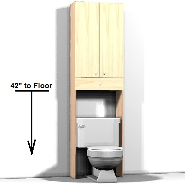 Tall cabinet with opening for toilet, double doors and 1 drawer