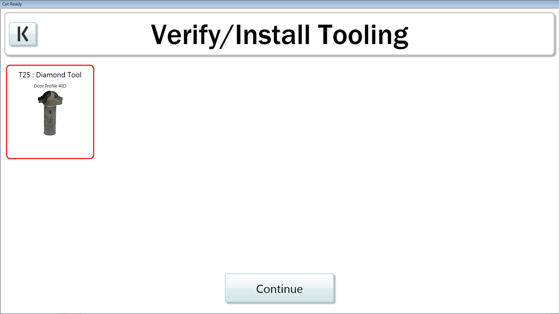 The verify tooling interface has been simplified and now only displays the tools in use