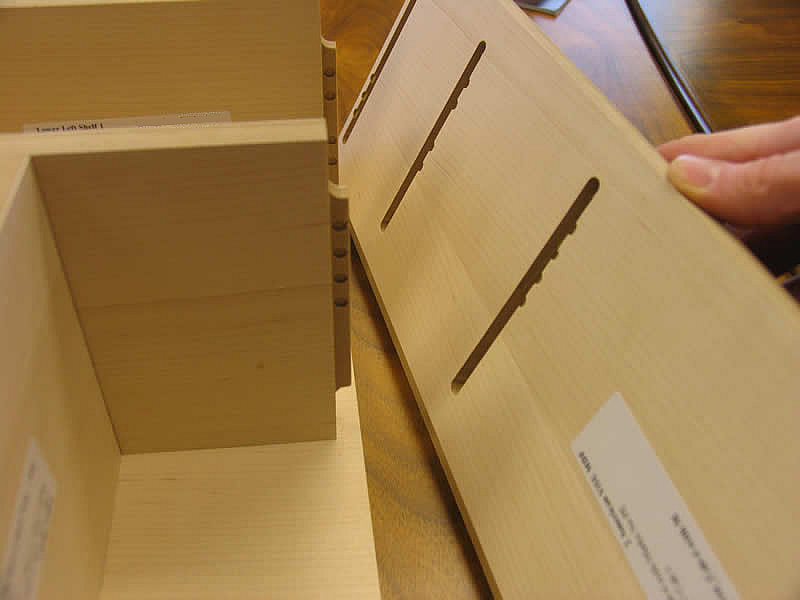 Assembly marks are totally hidden when the cabinet is put together.
