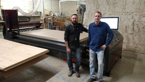 Jody Wilmes of Thermwood with Donovan Mumma of Byrne Custom Woodworking in Lenexa, KS and their brand new ‪‎CutReady‬ ‎Cut Center‬.