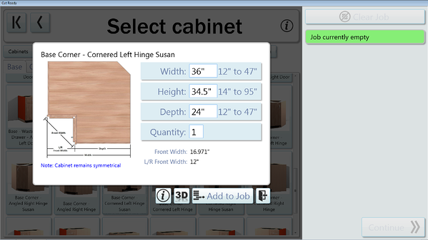 Now resize width and depth of corner cabinets in the Cut Center