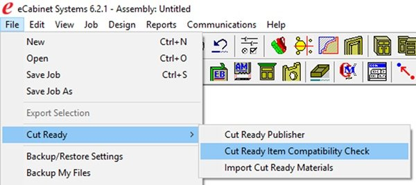 This update allows you to check your user-created eCabinet Systems jobs for Cut Ready compatibility