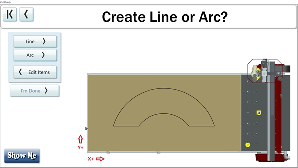 Easily create a straight line or arc in the Custom Cuts menu on the Thermwood Cut Center