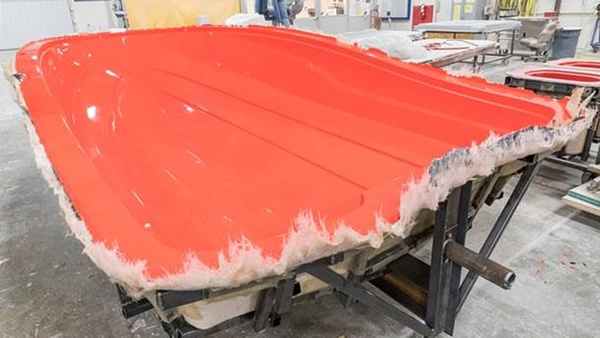 Finished boat hull mold in red