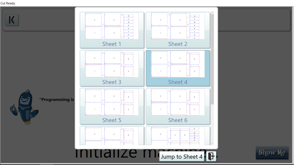 Cut Ready Sheet Jump Dialog