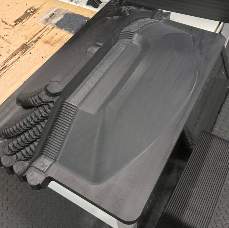 LSAM ABS Demonstration Part Showing as printed (rough cut and finished surfaces)
