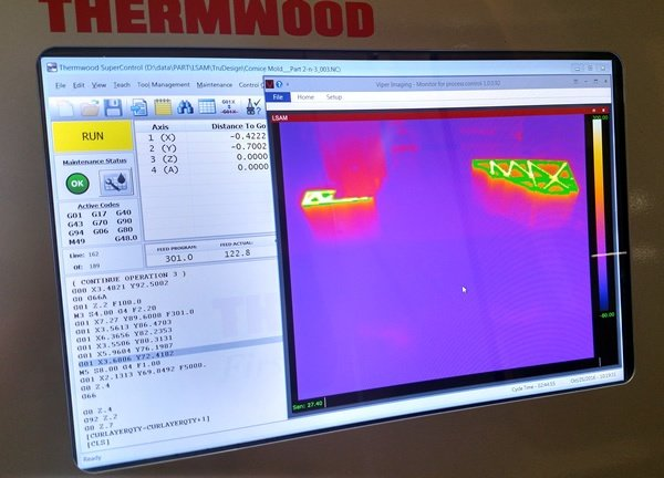 Thermwood LSAM Real-time Full Color Thermal Image of the Part