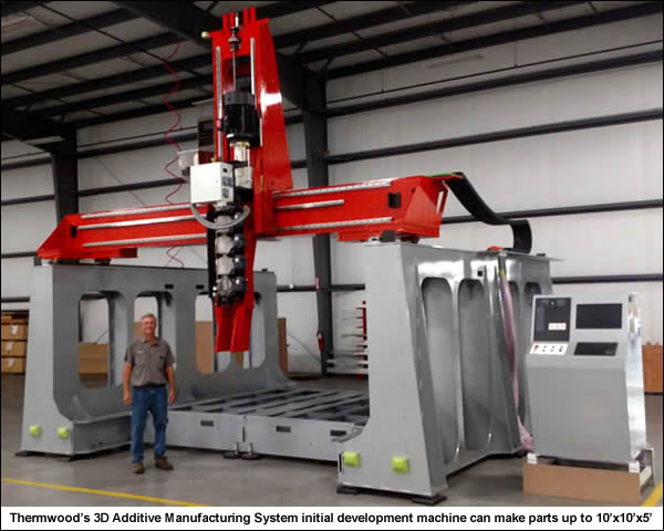 Thermwood's 3D Additive Manufacturing System (initial development machine) can make parts up to 10'x10'x5'