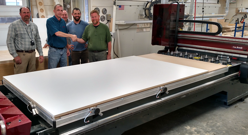 Aaron Barlow and the guys of Original Woodworking with their new Thermwood Cut Center