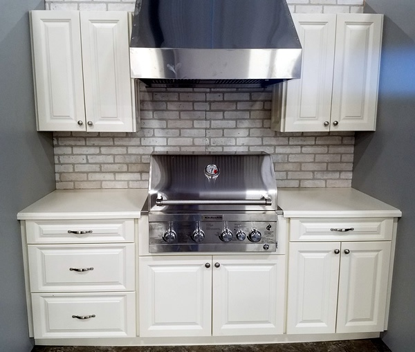 Outdoor Cabinets with grill and hood installed