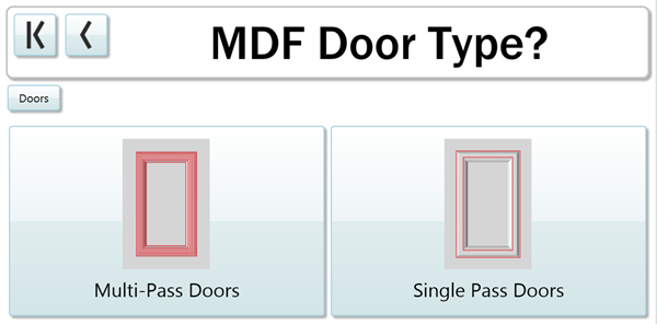 Choosing Muti-Pass or Single Pass Doors in the Cut Center is easy