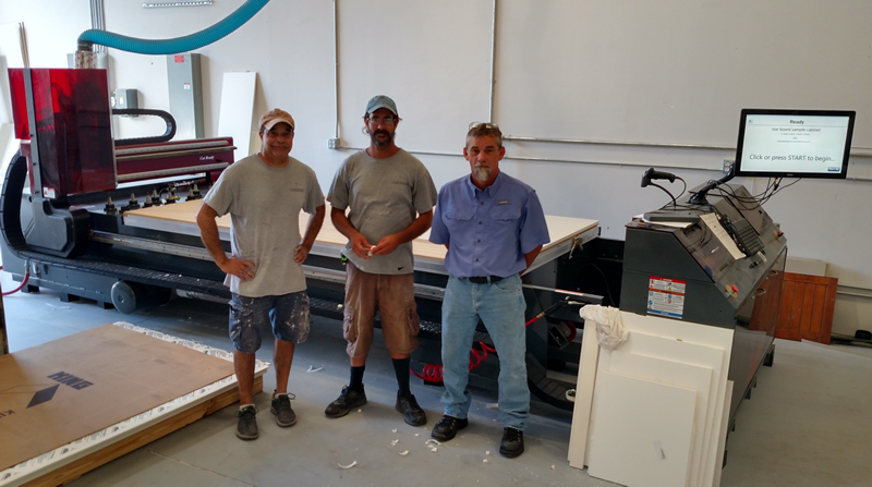 Tim Richardson and the guys of Timberwood Properties with their new Thermwood Cut Center
