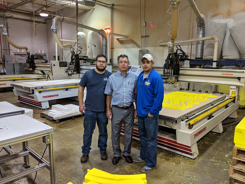 Dan Jachimowicz and his two sons, Dan, Jr and Jameson at Traco Manufacturing, Inc in Batavia, NY