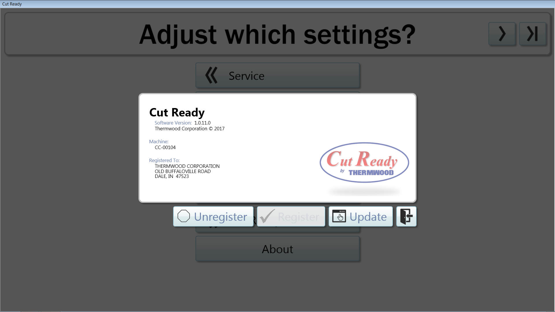 Thermwood Cut Center now adds the ability to manually check for updates