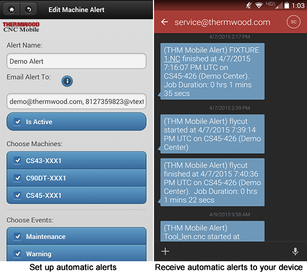 Thermwood CNC Mobile App Automatic Alerts