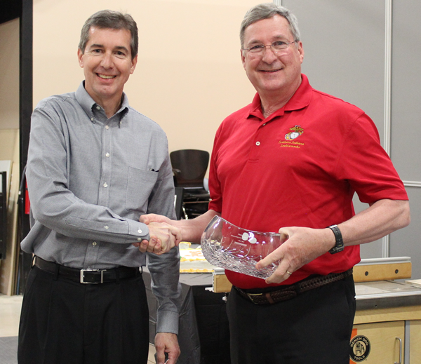 Thermwood President, David Hildenbrand, also thanking Dennis for his many contributions