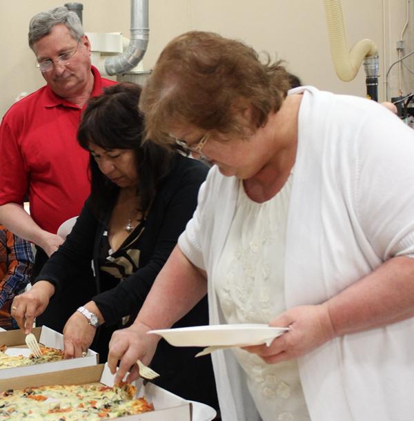 Everyone enjoyed the pizza!